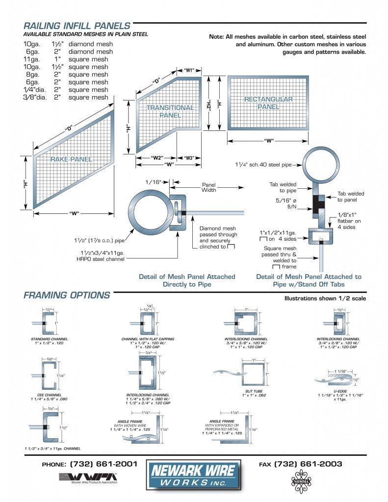 Railing Infill Specifications / Framing Options