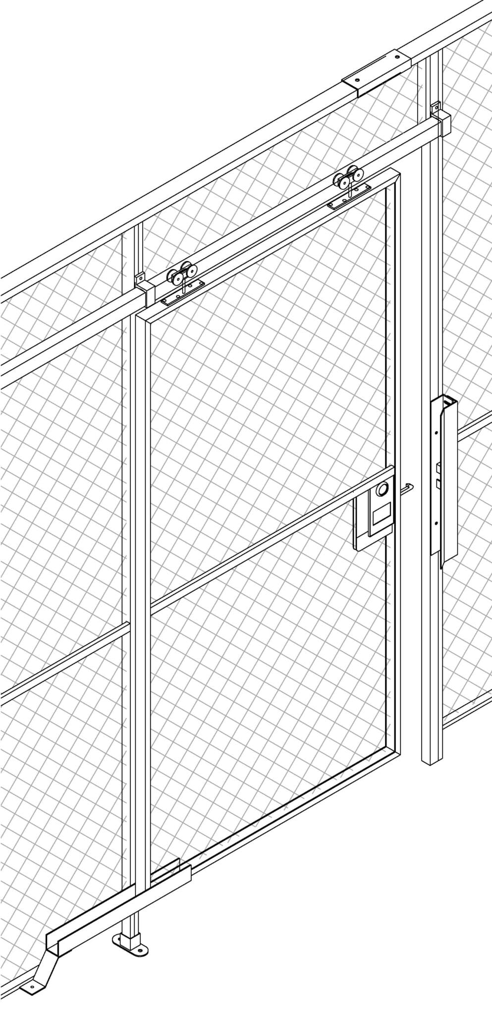 Type 120 Wire Mesh Sliding Gate Isometric view