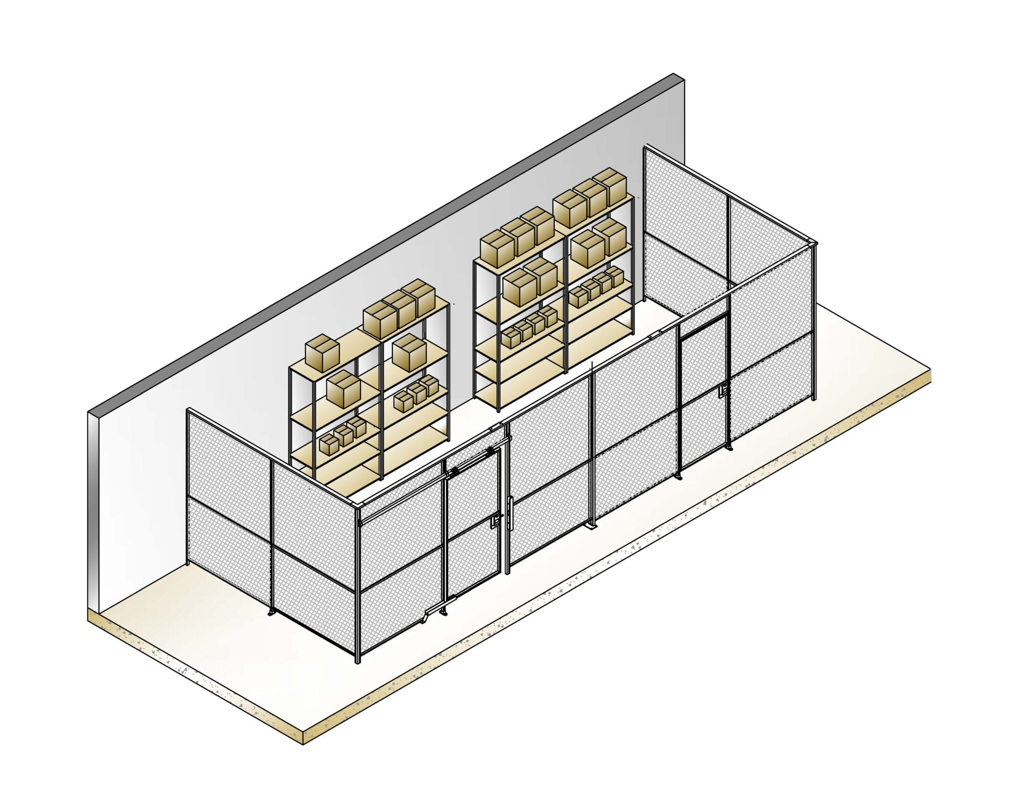 type 120 wire mesh partition cage isometric gradient view